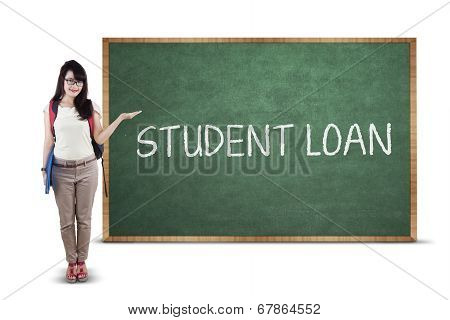 Student Presenting Student Loan Text
