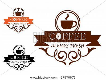 Coffee Always Fresh vector label