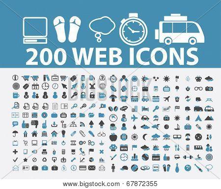 200 web, internet marketing icons, signs, symbols set, vector