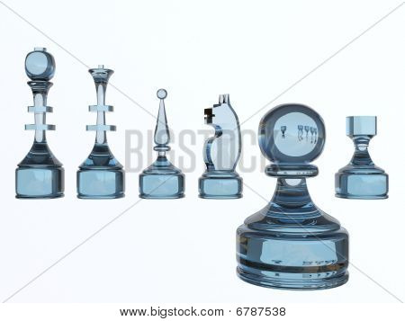 Set of chess glass figures light blue tinted poster