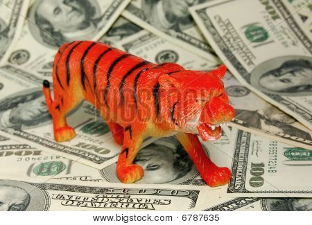 Tiger on dollars background