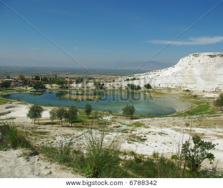 Lake Surrounded With White Travertine In Pammukale