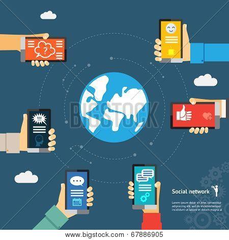 globe mobile instant messenger concept
