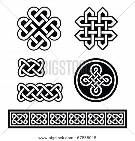 Set old traditional Celtic symbols, knots, braids in black and white poster