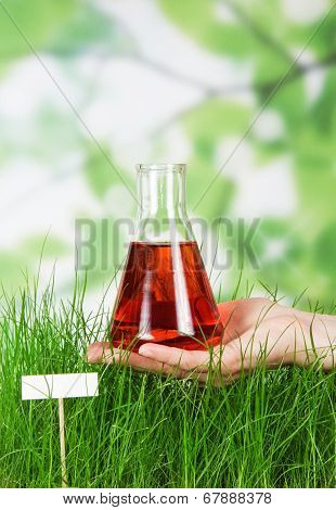 Tall grass green watered red liquid outdoor poster
