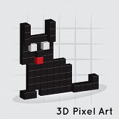Cat. 3D Pixel Art. Vector for you design poster