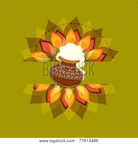 South Indian harvesting festival, Happy Pongal celebrations with rice in traditional mud pot on floral design decorated green background. poster