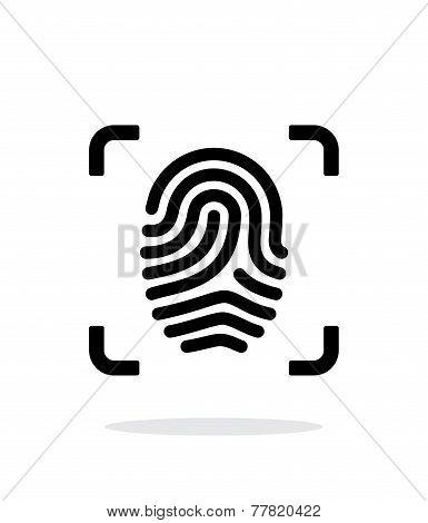 Scanning finger icon on white background.