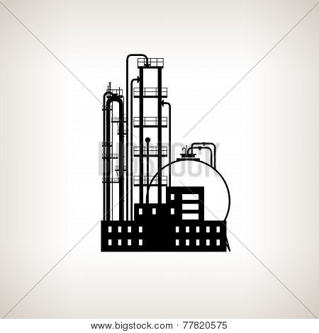 Silhouette Of A Chemical Plant Or Refinery Processing , Vector Illustration