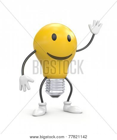 Funny lamp with smily face poster