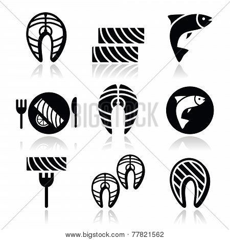 Salmon fish and meal - food icons set