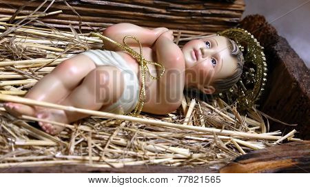 Baby Jesus In The Manger Of The Crib