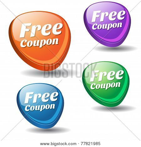 Free Coupon Colorful Vector Icon Design