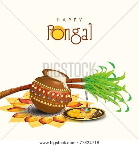 South Indian harvesting festival, Happy Pongal celebrations with rice in traditional mud pot, sugarcane and plate of religious offerings on colorful rangoli. poster