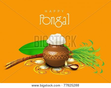 South Indian harvesting festival, Happy Pongal celebrations with rice in traditional mud pot, sugarcane, banana leaf and illuminated lit lamp on yellow background.