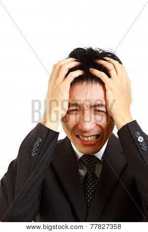 panicky Japanese businessman