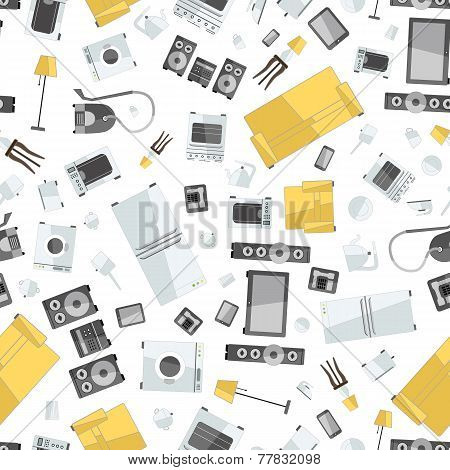 mess of colorfull icons house appliance seamless pattern