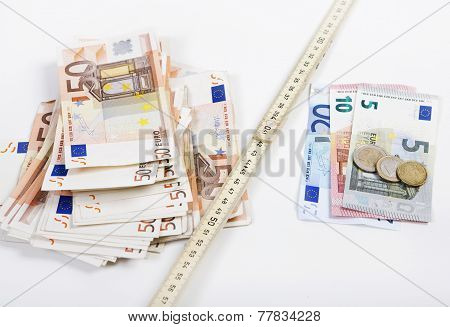 the folding rule between poverty and wealth goes further apart illustrated with euros poster