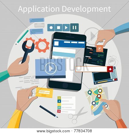 Concept for mobile application development, teamwork, brainstorm, cooperation with hands working on a smartphone navigation, screen interface, social media,  services poster