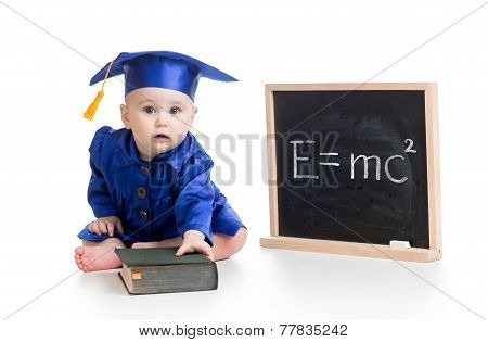 funny child in academician clothes at chalkboard