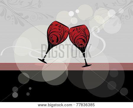 Wine glasses stylized