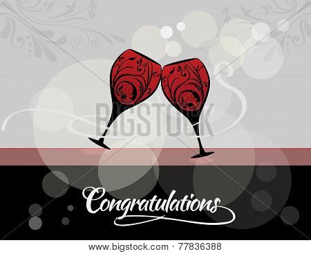 Congratulations toast with wine glasses