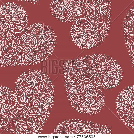 Seamless pattern with lace hearts
