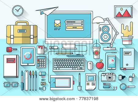 Flat modern design of creative office workspace workplace. Desktop icon collection in stylish colors of business objects. Vector illustration concept poster