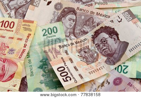 Mexican Peso Bank Notes Background