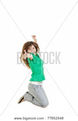 Casual Woman Jumping Happy And Free In Full Body
