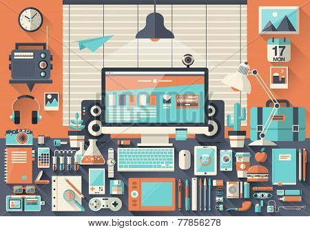 Flat modern design vector illustration concept of creative office workspace workplace. Icon collection in stylish colors of business work items elements office things equipment objects poster