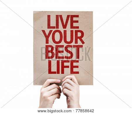Live Your Best Life card isolated on white background