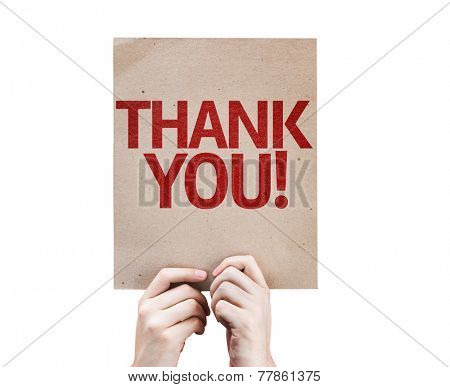 Thank You card isolated on white background
