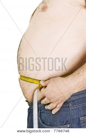 Fat man holding a measurement tape