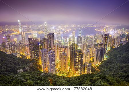 Hong Kong, China city skyline from the Peak.