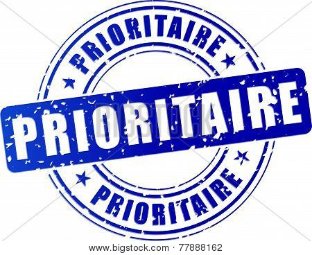 french translation for priority blue stamp icon poster