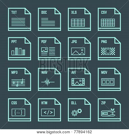 file formats minimal outline design icons set