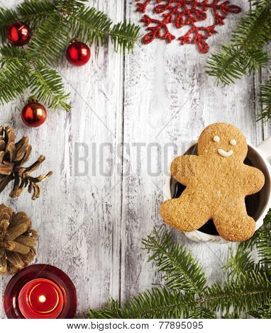 Christmas Frame With Gingerbread Cookie Man, Cup Of Tea And Christmas Decoration