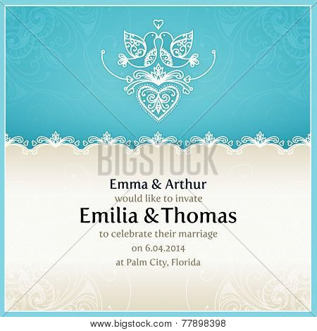 Blue wedding invitation design template with doves, hearts, flow