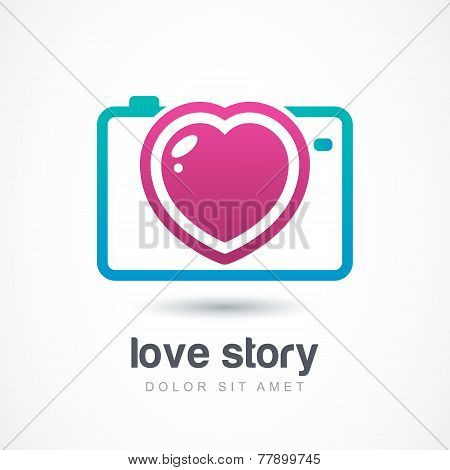Abstract Colorful Photo Camera With Heart Lens. Vector Logo Icon Template. Design Concept For Weddin