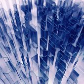 blue glass acute angled abstraction as a background poster