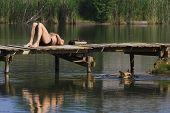 man sunbathing on a pier at a lake a german shepherd dog swimming below poster