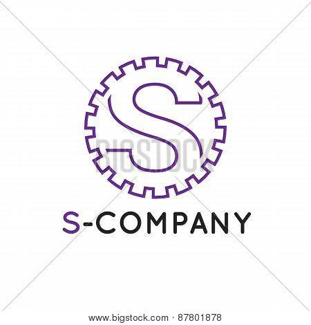 Vector modern minimalistic outline violet S letter logotype. Cogwheel logo poster