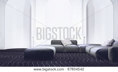 Modern sitting room interior with elegant arched recesses along the wall and a comfortable modular lounge suite in a luxury home. 3d Rendering.