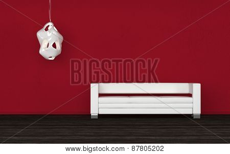 Comfortable white sofa in a red room standing against the wall below a wall sconce on a black floor in an architectural background ready for your interior decorating ideas. 3d Rendering.