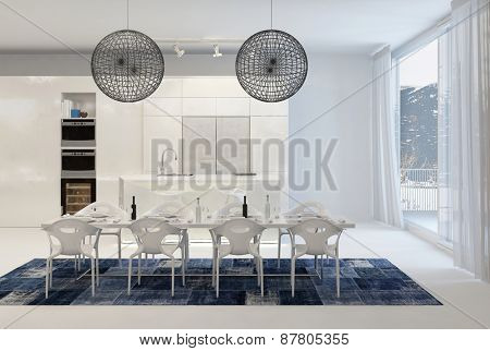 Modern Dining Table with Wire Globe Light Fixtures in White Kitchen with Large Windows. 3d Rendering.