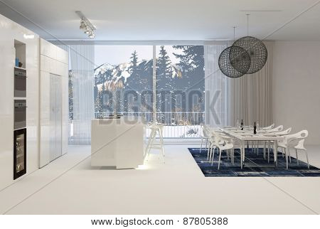 Modern White Kitchen with Eat In Dining Table and Large Windows with View of Snowy Mountains. 3d Rendering.
