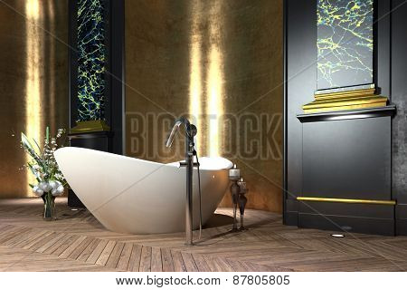 Luxury bathroom interior in classic style with a freestanding boat-shaped bathtub, paneling, floral decoration and vintage parquet floor. 3d Rendering.