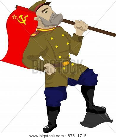 Illustration of a Soviet soldier with a flag in his hand, his foot stands on fascist helmet poster