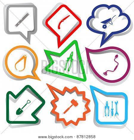 Industrial tools set. Paper stickers. Raster illustration.